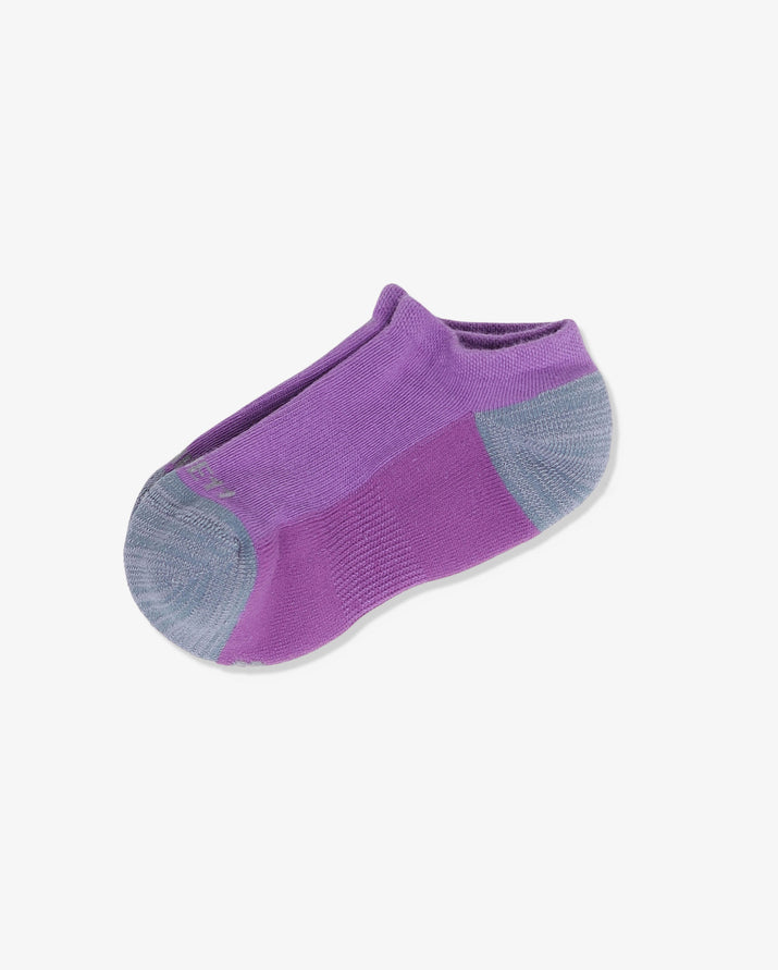 Womens ankle sock in purple with grey heel and toe caps, laid flat.