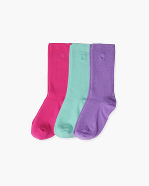 womens 3 pack of crew socks. One pair of each colorway: hot pink, mint, violet.