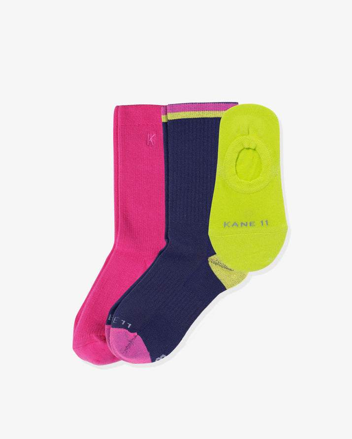 Women's trendsetter mix 3 pack. One of each: Ruby hot pink, Keira navy, Laylo lime