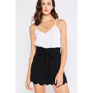 High Waisted Scallop Short
