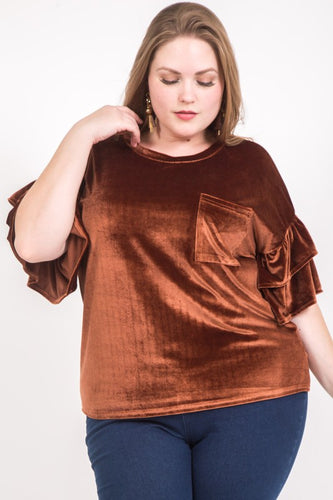 FINAL SALE - Velvet Ruffle Sleeve Top