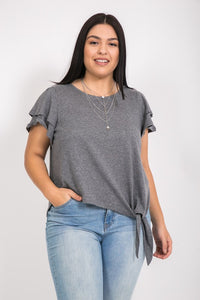FINAL SALE - Grey Ruffle Sleeve Beauties T-shirt