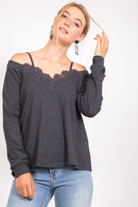 FINAL SALE - Gray Sky Cold Shoulder