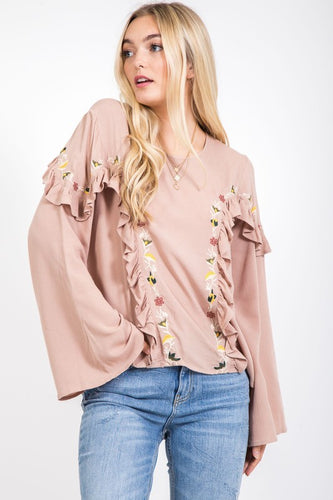 FINAL SALE - Willow Ruffle Bell Sleeve Top