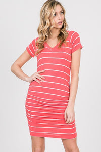 Ruched Striped Dress