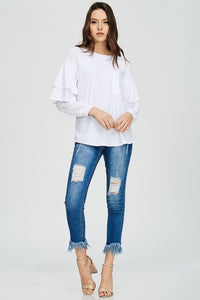 FINAL SALE - Ruffle Sleeve Pocket Top