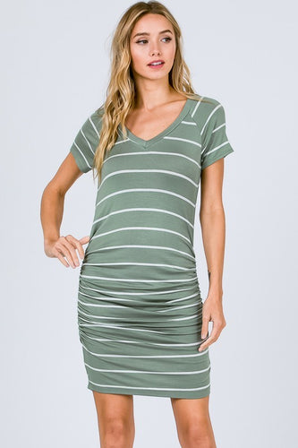 FINAL SALE - Ruched Striped Dress