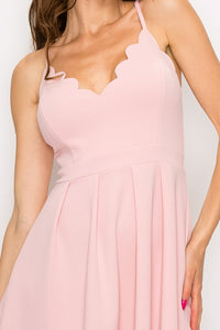 Scalloped V-Neck Fit and Flare Dress