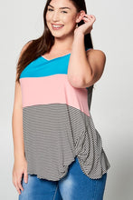 Load image into Gallery viewer, Color Block Stripe Beauties Tank