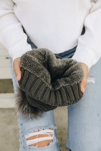 FINAL SALE - Pom + Sherpa Beanie