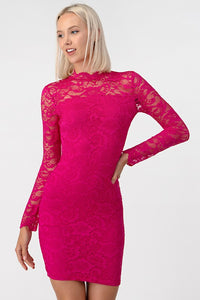 FINAL SALE - Lace Mock Neck Dress
