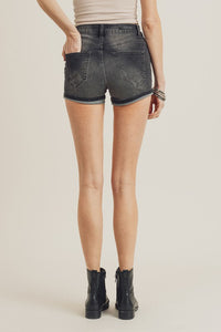 Stone Distressed Cuffed Shorts