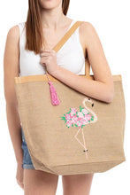 Load image into Gallery viewer, JENNA. Chic Flamingo Jute Tote