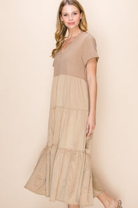 JENNA. Deep V Maxi Dress