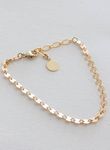 Gold Filled Round Textured Disc Bracelet