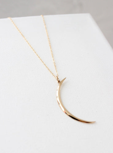 Thin Brass Crescent Necklace