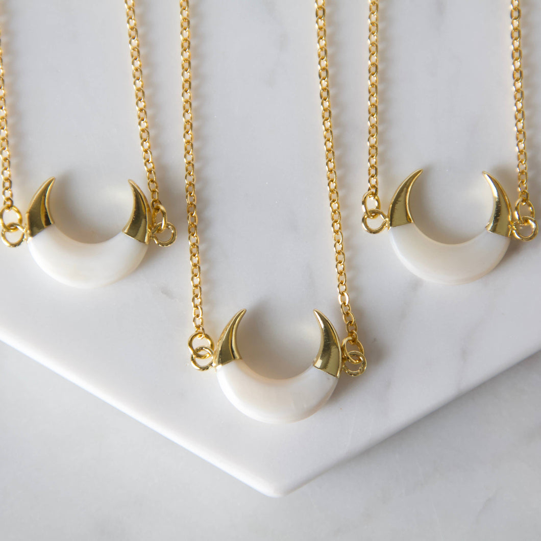 White Shell + Gold Horn Necklace