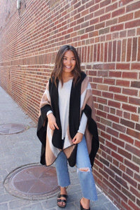 FINAL SALE - Black + Taupe Cape