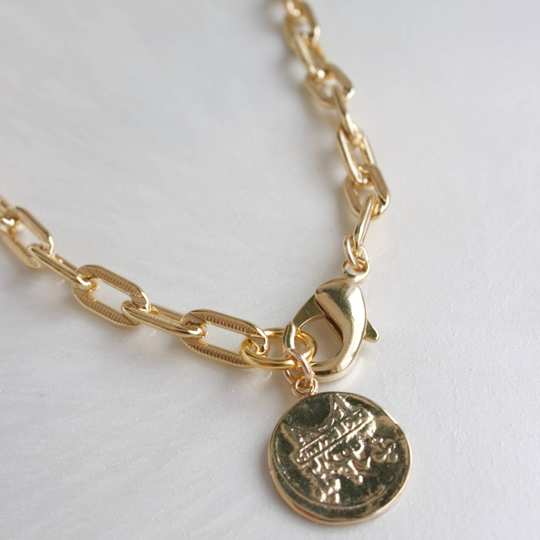 Vintage Coin Chunky Chain Necklace