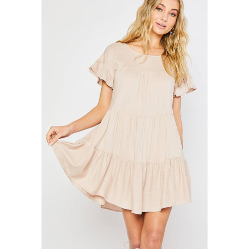 Tiered Babydoll Ruffle Hem Dress