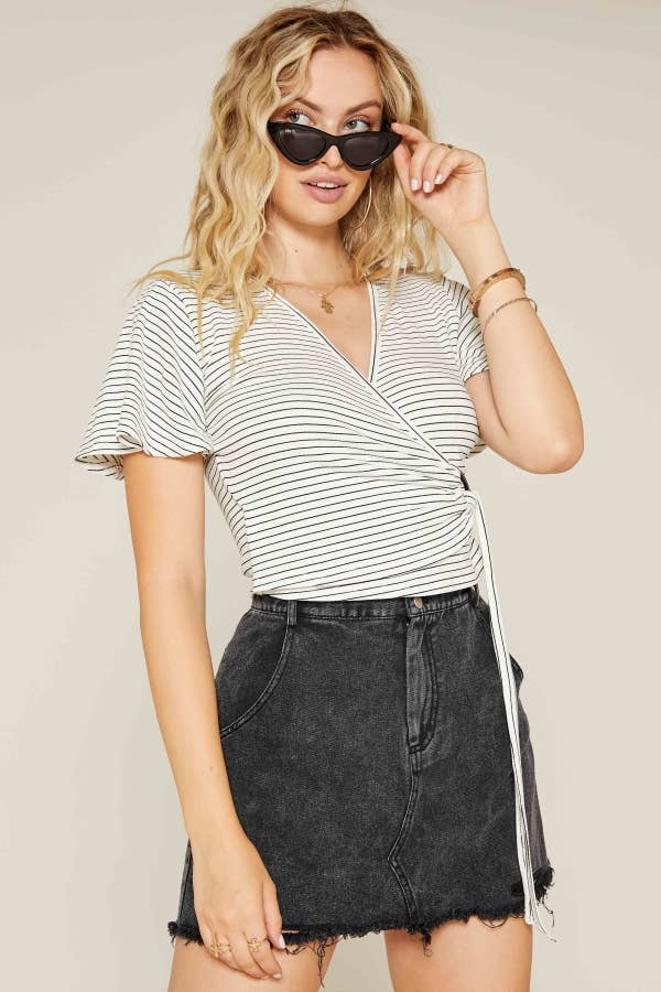 Roll Out Wrap Stripe Knit Top