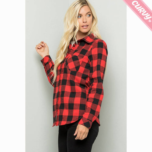 FINAL SALE - Buffalo Plaid Fleece Button Up Shacket // BEAUTIES