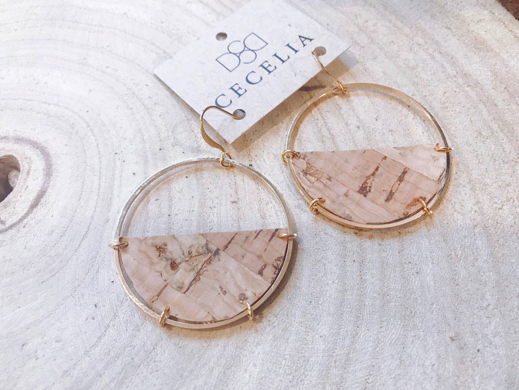Half Moon Leather Earrings - Cork