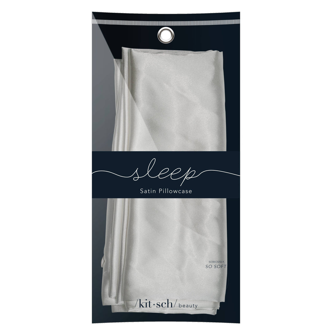 KITSCH - Silver Satin Pillowcase