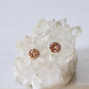 Rose Gold Titanium Druzy Stud Earrings - Silver