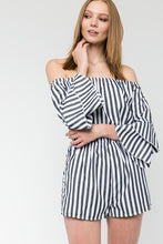 Load image into Gallery viewer, Off the Shoulder Stripe Romper