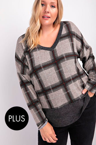 FINAL SALE - V-Neck Plaid Top