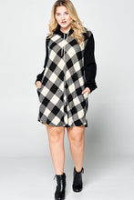 Load image into Gallery viewer, FINAL SALE - White Buffalo Plaid Tunic Dress