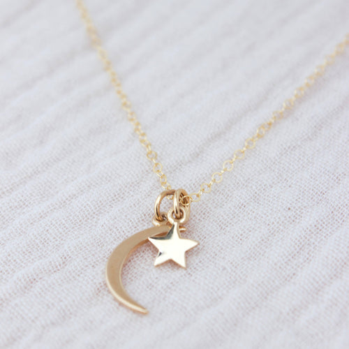 Brass Moon + Star Charm Necklace