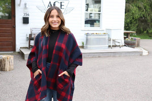 Navy + Red Buffalo Plaid Cape