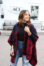 Load image into Gallery viewer, Navy + Red Buffalo Plaid Cape