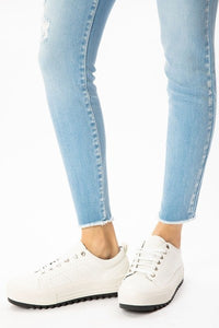 JENNA. High Rise Double Waistband Ankle Skinny