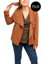 Load image into Gallery viewer, FINAL SALE - Suede Asymmetrical Zip Moto Jacket