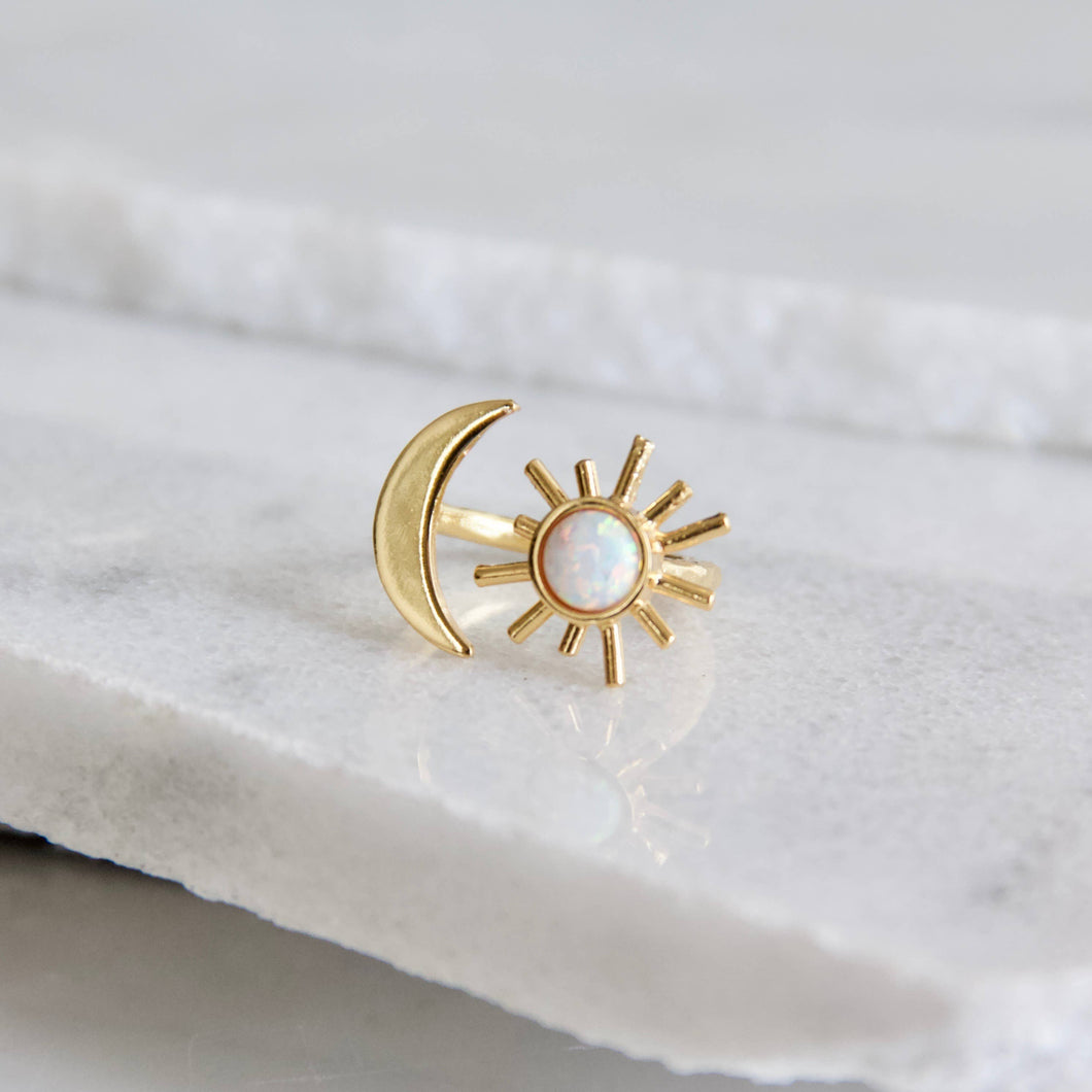 Opal Sun and Moon Ring