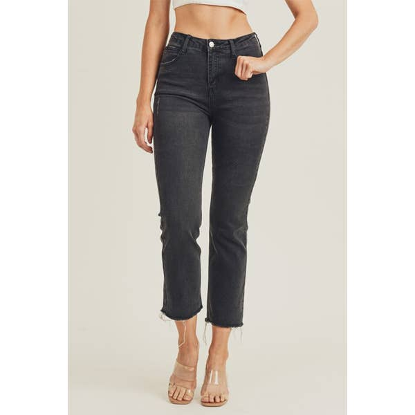 Raw Hem Ankle Crop Jeans