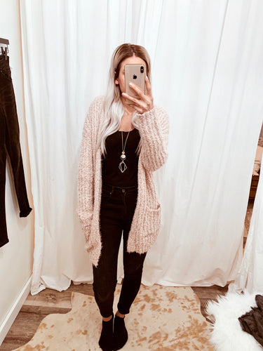 Blush Eyelash Knit Cardigan