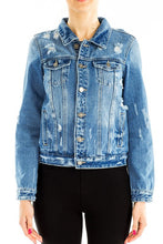 Load image into Gallery viewer, Kellie Distressed Denim Jacket