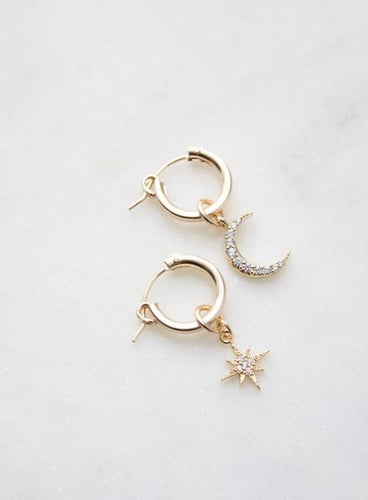 Gold Hoop + CZ Drop Earrings