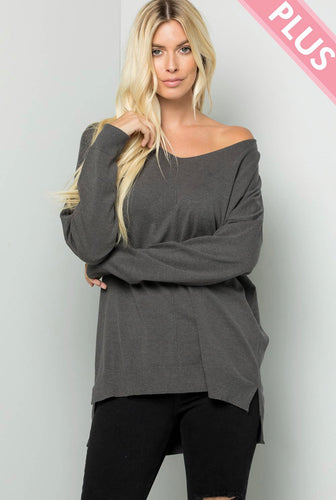 Buttery Soft V-Neck Sweater - Charcoal