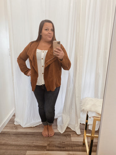 FINAL SALE - Suede Asymmetrical Zip Moto Jacket
