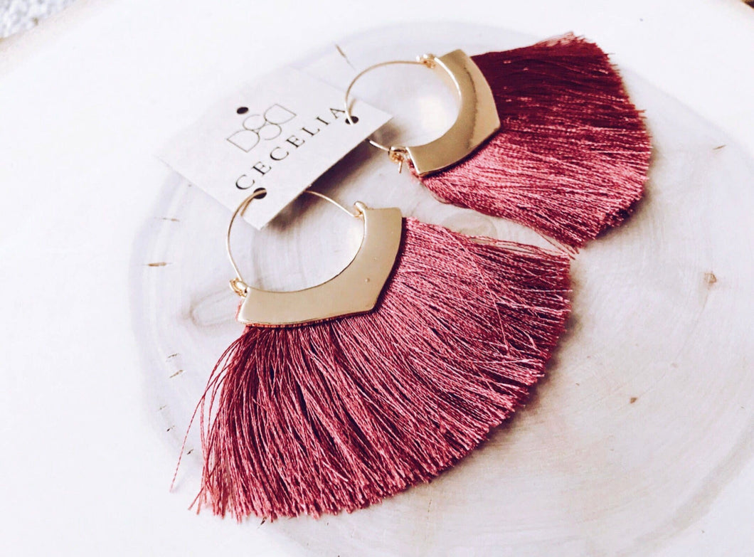 Tassel Earrings - Pomegranite