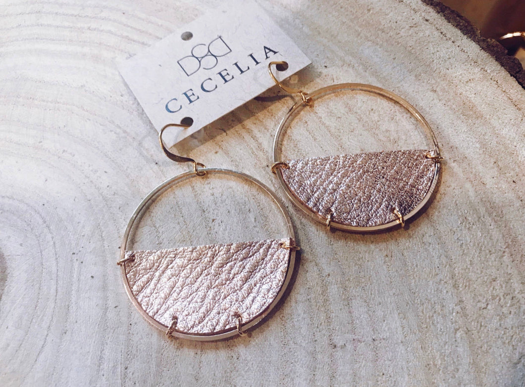 Half Moon Leather Earrings - Rose Gold