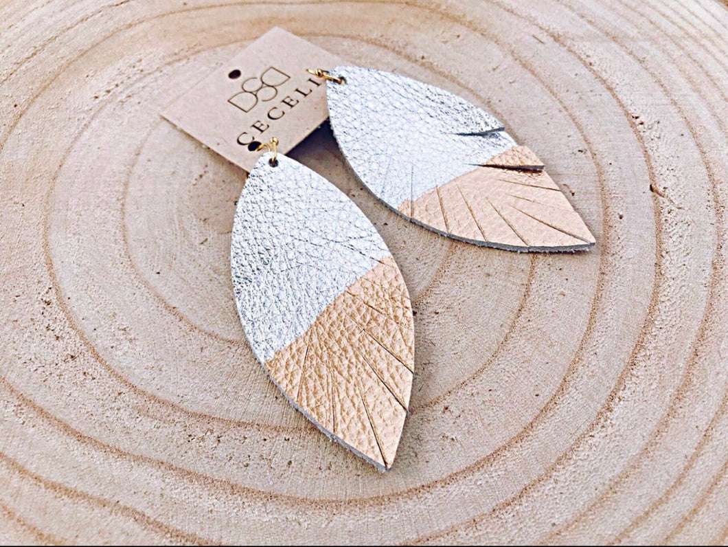 Painted Leather Earring - Gold Dipped Silver