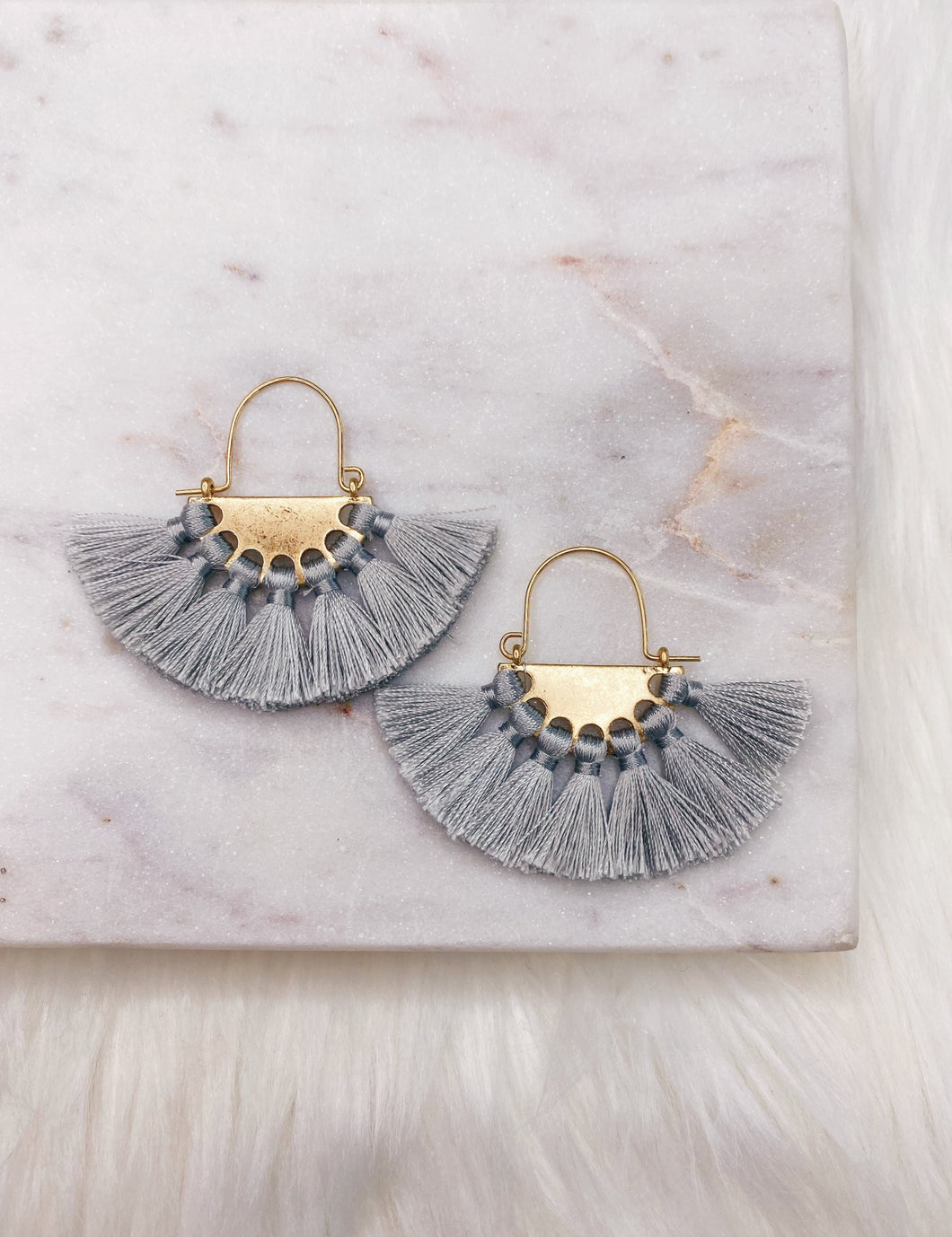 Gray Fan Tassel Earring