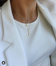 Load image into Gallery viewer, Thin Brass Crescent Necklace