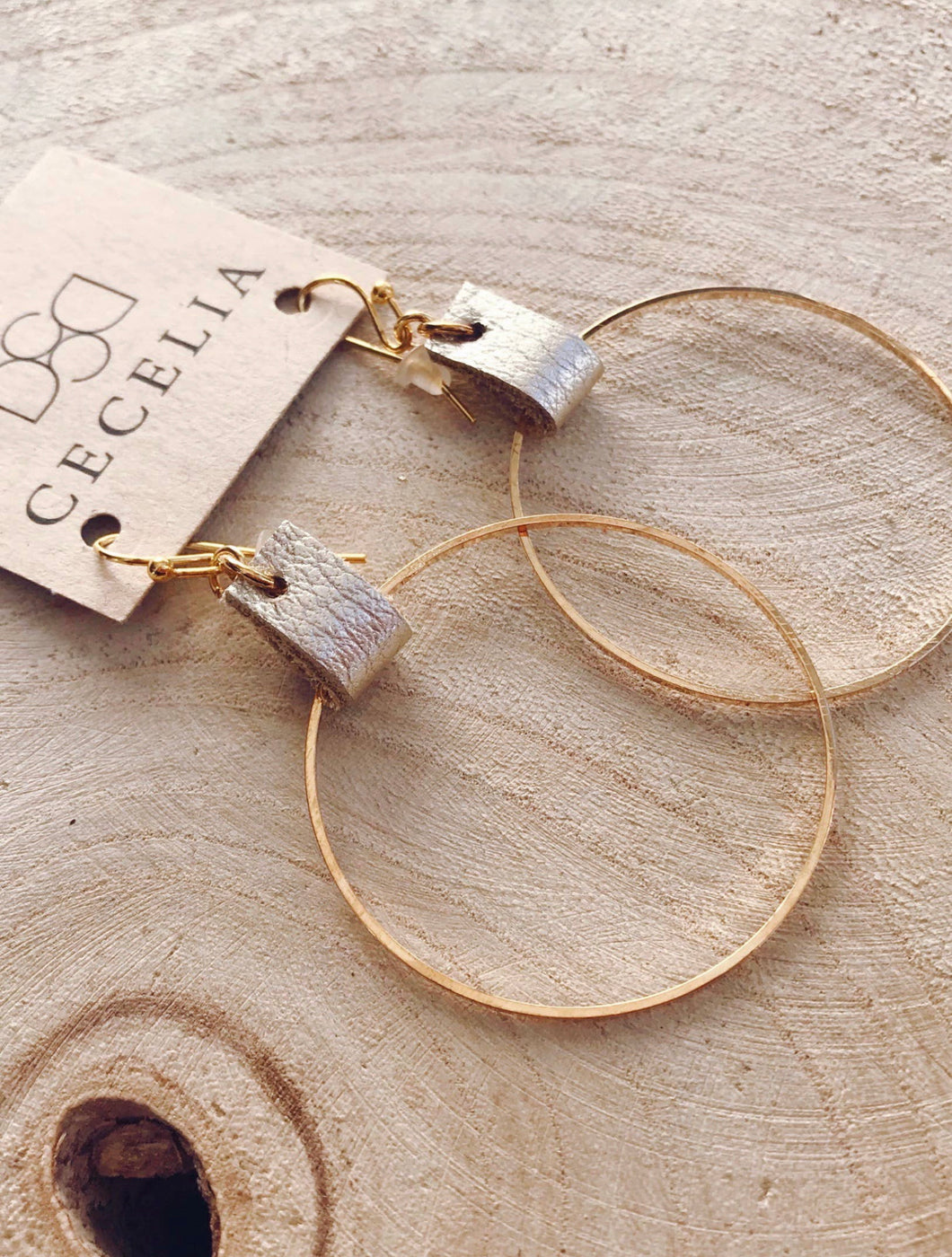 Leather Hoop Earrings - Champagne
